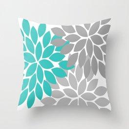 Flower Burst Turquoise Gray Dahlia Floral Pattern Throw Pillow