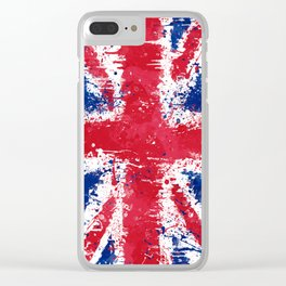 UK Flag - Union Jack Messy Action Painting Clear iPhone Case
