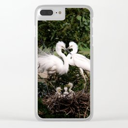 White Egret Family Clear iPhone Case