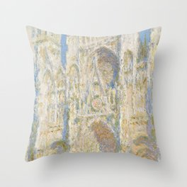 Rouen Cathedral, West Façade, Sunlight Throw Pillow