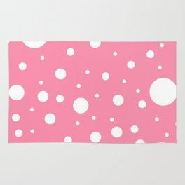Mixed Polka Dots - White on Flamingo Pink Rug