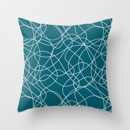 Pale Blue on Tropical Dark Teal Scribbled Lines Abstract Hand Drawn Mosaic Pattern Inspired by Sherwin Williams 2020 Trending Color Oceanside SW6496 Throw Pillow