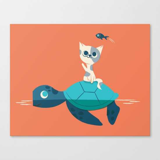 Cat on a Turtle Canvas Print