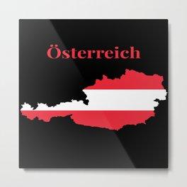 Austria Map Flag Metal Print