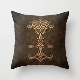Vintage Rustic Libra Zodiac Sign Throw Pillow