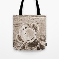 "outdoor Tote Bags featuring Monkey ""Outdoor"" by Ruby and Gunther"
