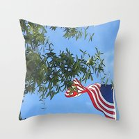 american flag Throw Pillows featuring American Flag  by KCavender Designs