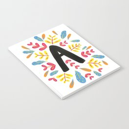 Letter 'A' Initial/Monogram With Bright Leafy Border Notebook