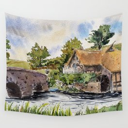 New Zealand, movie set   Watercolor Wall Tapestry