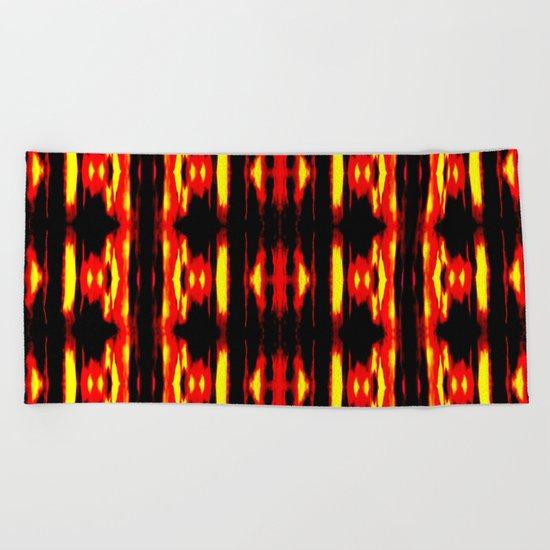 Orange Yellow Black Abstract Fire Pattern Beach Towel