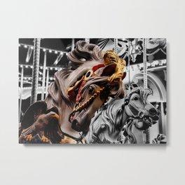 Color Black horses Metal Print