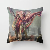 kaiju Throw Pillows featuring Fringehead Kaiju by Rushelle Kucala Art
