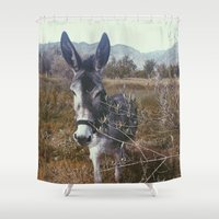 "donkey Shower Curtains featuring ""Retro Donkey"" by Guido Montañés"