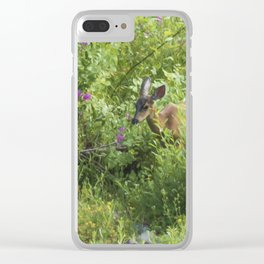 Young Doe Among The Flora painterly Clear iPhone Case
