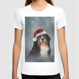 Bernese Mountain Dog in red hat of Santa Claus T-shirt