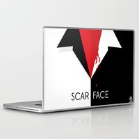 scarface Laptop & iPad Skins featuring Scarface Minimalist Movie Poster by LoweakGraph