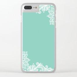 White Flower Lace Henna Design Teal Blue Mint Aqua Vintage Lace White Lace Design Clear iPhone Case