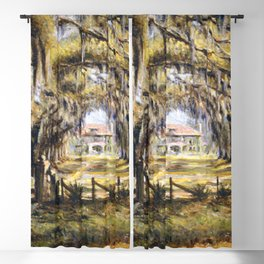 Classical African American Landscape 'Boone Hall Plantation' by Edwin Harleston Blackout Curtain