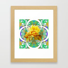 BEAUTIFUL LACY GREEN ART  & YELLOW ROSE DESIGN Framed Art Print