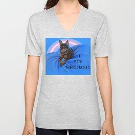 I Bite Transphobes-blue Unisex V-Neck