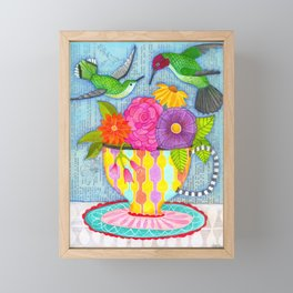 hummingbird tea Framed Mini Art Print