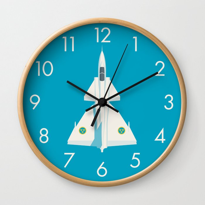 Saab 37 Viggen Swedish Air Force Fighter Jet Aircraft - Cyan Wall Clock