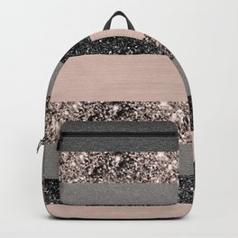 Blush Glitter Glam Stripes #3 #shiny #decor #art #society6 Backpack