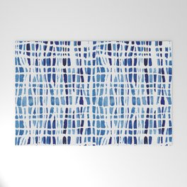 Shibori Braid Vivid Indigo Blue and White Welcome Mat