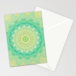 Bright Yellow Aqua Mandala Design Stationery Cards