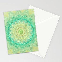 Bright Yellow Aqua Mandala Design Stationery Cards