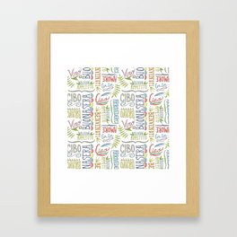 hand lettered italian word pattern Framed Art Print