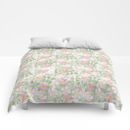 Pink Dogroses on Taupe Comforters