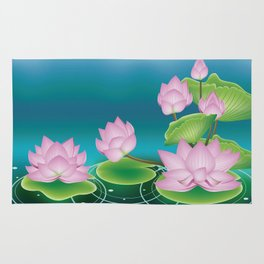 Lotus Flower with Leaves Rug