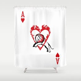Sawdust Deck: The Ace of Hearts Shower Curtain