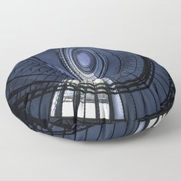 Blue spiral staircase Floor Pillow