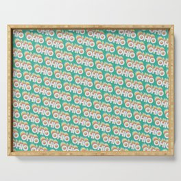 Ohio, USA Trendy Rainbow Text Pattern (Teal) Serving Tray