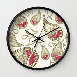 Pink and Tan Paisley Pattern Wall Clock