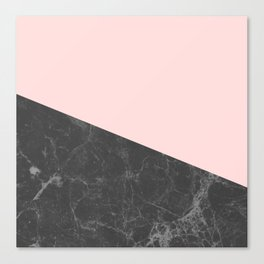 Marble Geometric Blush Pink Gray Black Canvas Print