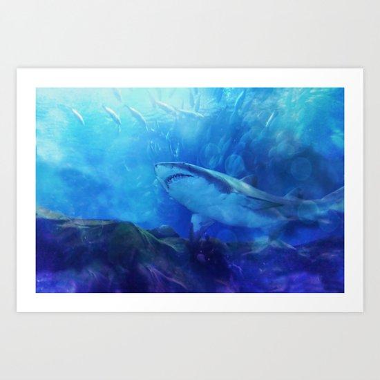Make Way for the Great White Shark King  Art Print