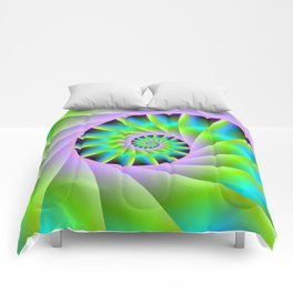 Turquoise Lilac and Green Spiral Comforters