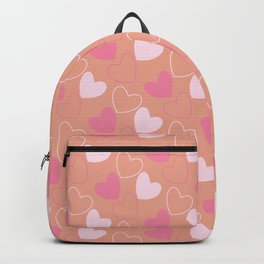 Small Pink Hearts Pattern on Peach Background Backpack