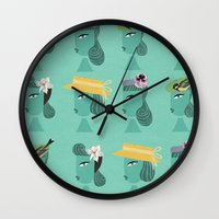 hats Wall Clocks featuring hats 1 by Mrwilliam Draw