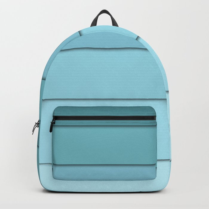 Colorful geometric striped pattern in shades of blue . Backpack