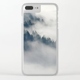 Mountain Fog and Forest Photo Clear iPhone Case