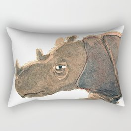 Thinking Rhinoceros Rectangular Pillow
