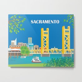 Sacramento, California - Skyline Illustration by Loose Petals Metal Print