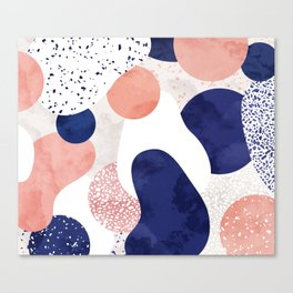 Terrazzo galaxy pink blue white Canvas Print