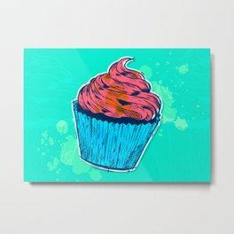 Cute Food Art Sweet Blue And Pink Cupcake Metal Print