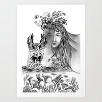 woman and dragon Art Print