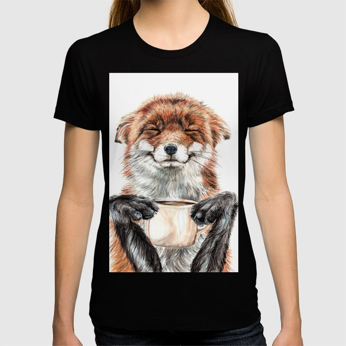 """"""" Morning fox """" Red fox with her morning coffee T-shirt"""